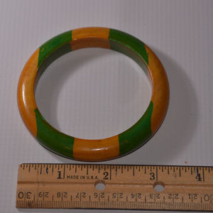 vintage green tan brown striped  bangle bracelet